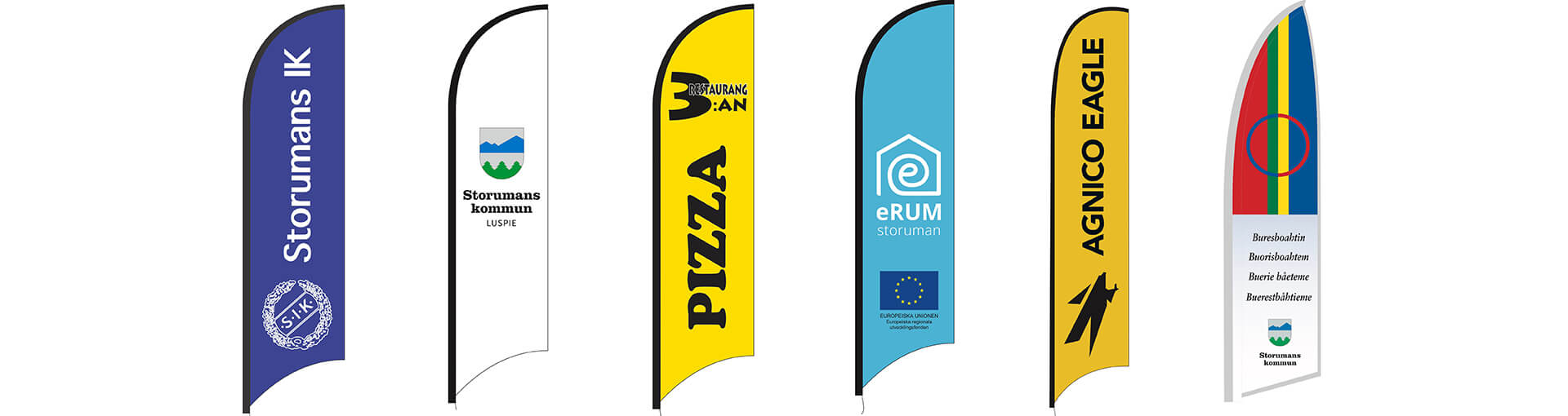 beachflags i tre olika storlekar